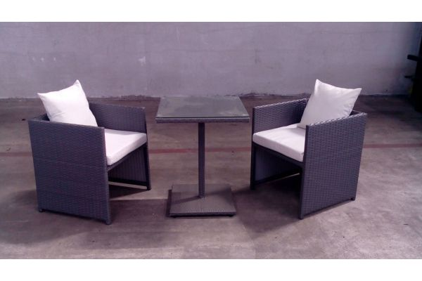 #G Tisch Palermo + 2x Sessel Tahiti-grau-cremeweiß