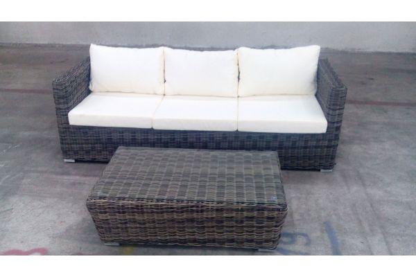#G 3er Sofa Sorano + Tisch Mandal-grau-meliert-cremeweiß