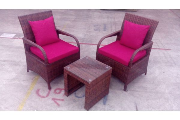 #G Set Pizzo Stühle + Tisch Casablanca-braun-meliert-rubinrot