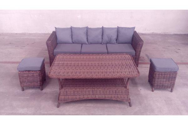 #G 3er Sofa Mandal mit Tisch Pandora und zwei Hocker Vilato-braun-meliert-eisengrau