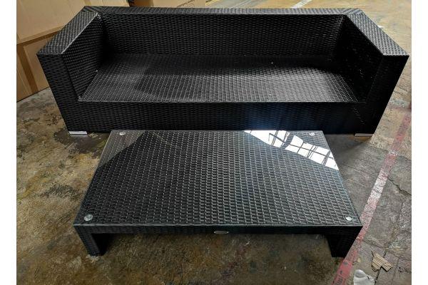 #G 575: 3er Sofa mit Tisch Casablanca-schwarz