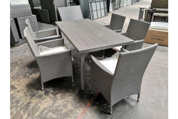 #G 602 5er Set Stuhl mit Tisch Florenz-grau