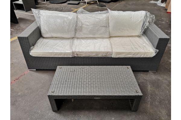 #G 615: 3er Sofa Casablanca mit Tisch Casablanca-grau