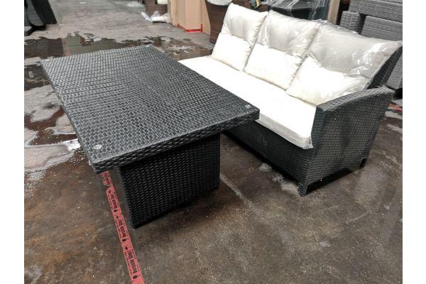 #G 639: 3er Sofa Bermeo + Tisch Fisolo