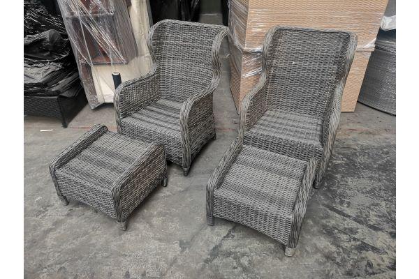 #G 706: 2x Stuhl Treviso + 2x Hocker Treviso 5mm