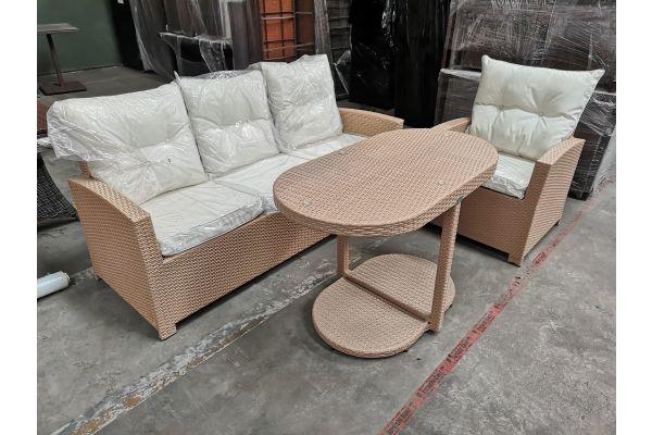 #G 747: 3er Sofa + Sessel Fisolo mit Tisch Bayamo