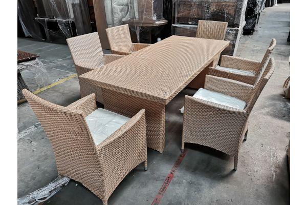 #G 750: 6er Set Stuhl Avignon mit Tisch Avignon 200-sand