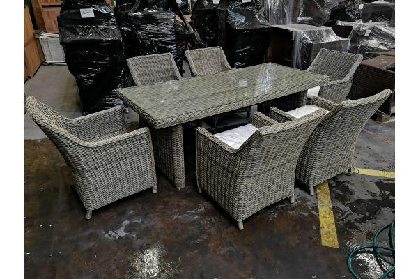 #G 764: 6er Set Sessel Sandnes mit Tisch Fontana 5mm