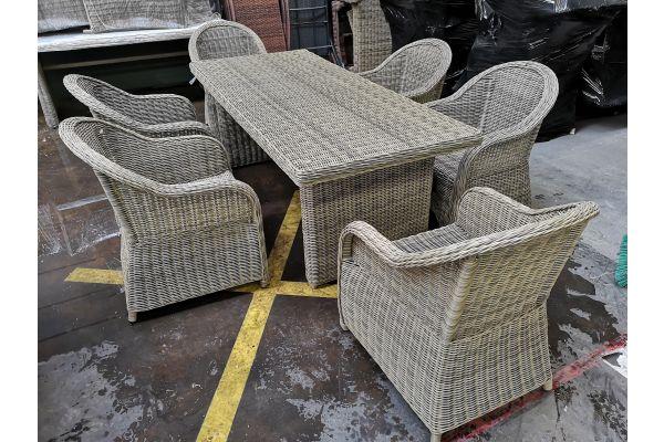 #G 765: 6er Set Stuhl Stavanger mit Tisch Fontana 5mm