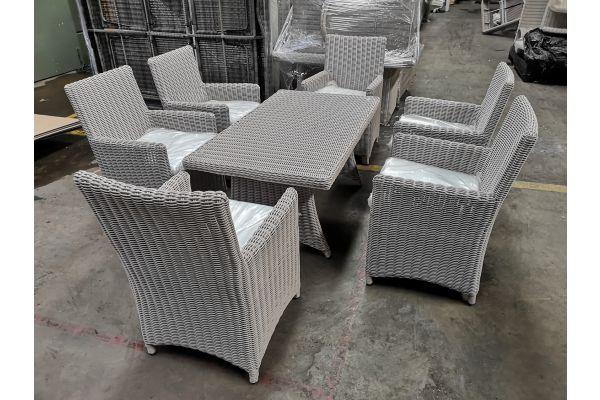 #G 800: Tisch Sorano + 6x Stuhl Fontana-perlweiß