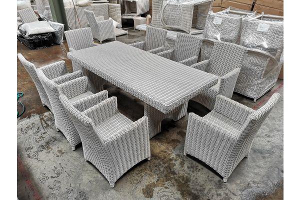 #G 806: Tisch Sandnes XL + 8x Stuhl Fontana 5mm-perlweiß