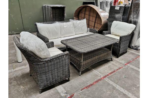 #G 832: 2x Sessel Sandnes + Tisch Pandora + 3er Sofa San Fernando-grau-meliert