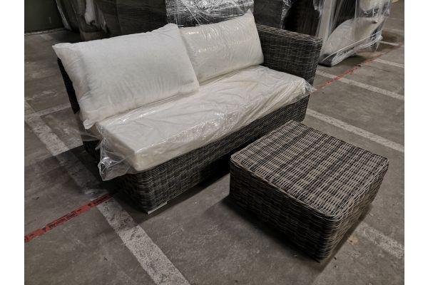 #G 834: Seitenelement Barcelona + Tisch 60x60x30-grau-meliert