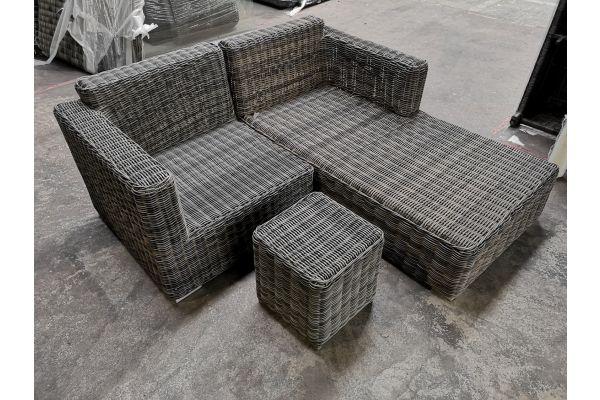 #G 858: Recamiere + Eckelement Tessera + Tisch Vilato-grau-meliert