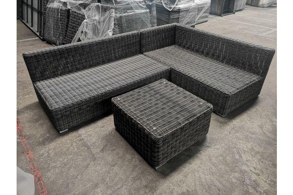 #G 862: Seitenelement + Mittelelement + Tisch Ariano-grau-meliert