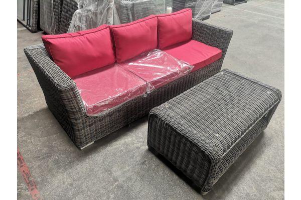 #G 865: 3er Sofa Mandal + Tisch San Fernando