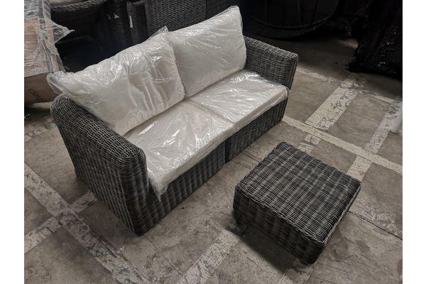 #G 869: 2x Eckelement Marbella + Tisch Ariano-grau-meliert