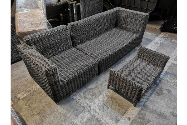 #G 870: Seiten- Eckelement Tessera + Tisch Merida-grau-meliert