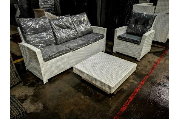 #HBM 911: 3er Sofa und Sessel Fisolo + Tisch Tunis-weiß-eisengrau