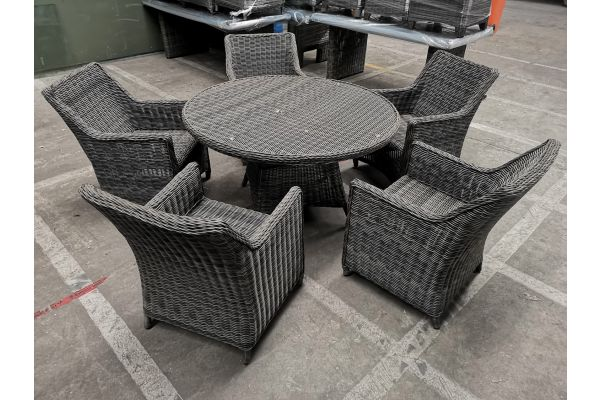 #G 959: 5x Sessel Sandnes + Tisch Stavanger-grau-meliert
