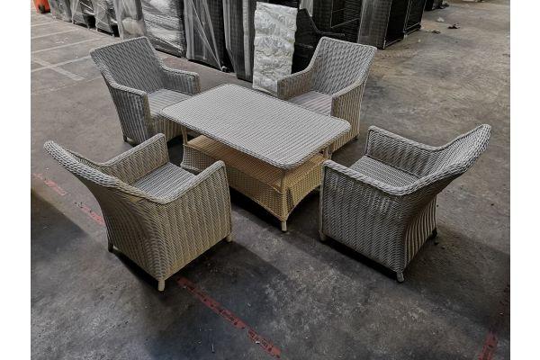 #G 970: 4x Sessel Sandnes + Tisch Pandora-perlweiß
