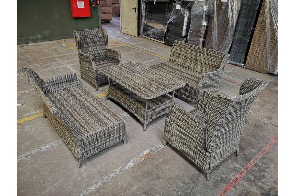 #G 1042: 2x Sessel Breno + 2x Seitenelement + Tisch Pandora-grau-meliert