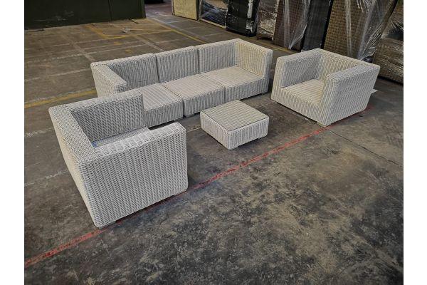 #G 1061: 2x Sessel + 2x Eckelement + Mittelelement Barcelona + Tisch Ariano-perlweiß