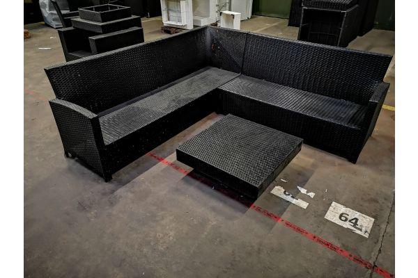 #HBM 1091: Garnitur Vicenta mit Tisch Tunis schwarz-schwarz