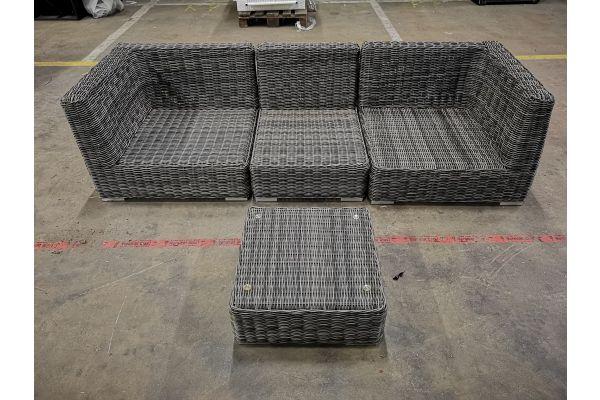 #G 1095: 2x Eckelement Terra + 1x Mittelelement Ariano mit Tisch Terra 5mm-grau-meliert