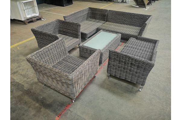 #HBM 1102: Garnitur bestehend aus 2x Sessel + 2x Eckelement + 1x Recamiere + 1x Tisch Moss 5mm-grau-meliert