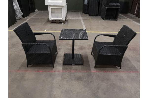 #HBM 1103: 2er Set Stuhl Pizzo mit Tisch Palermo schwarz