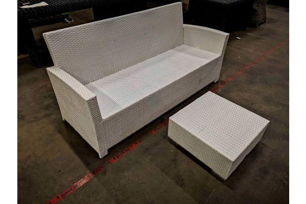 #G 1114: 3er Sofa Fisolo + Tisch 60x60x26 cm-weiß