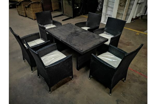 #HBM 1129: 6er Set Stuhl Avignon mit Tisch Fisolo