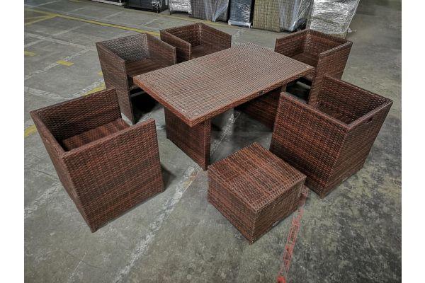 #HBM 1146: 5x Sessel + Hocker Maui + Tisch Fisolo-braun-meliert