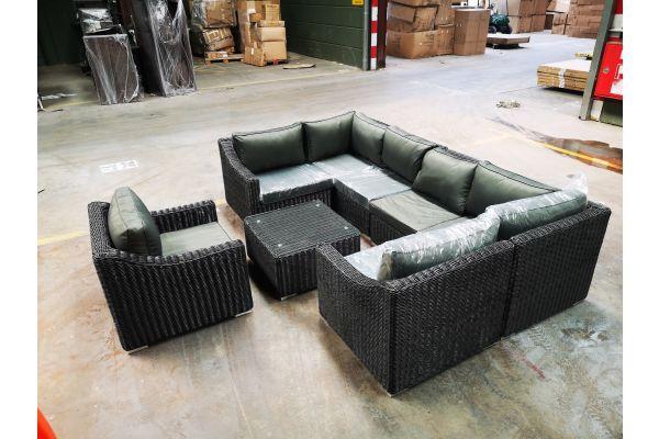 #HBM 1170: Garnitur Del Mar 5mm bestehend aus 2x Seiten-/ 2x Eck- und 2x Mittelelement mit Sessel und Tisch
