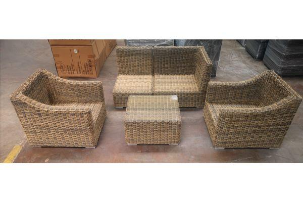 #HBM 1175: 2er Set Sessel mit 1x Eck- und 1x Mittelelement und Tisch Del Mar 5mm-natura
