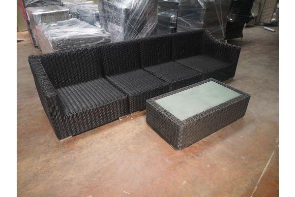 #HBM 1176: 2x Seiten- und 2x Mittelelement Del Mar 5mm mit Tisch Madeira 110x60