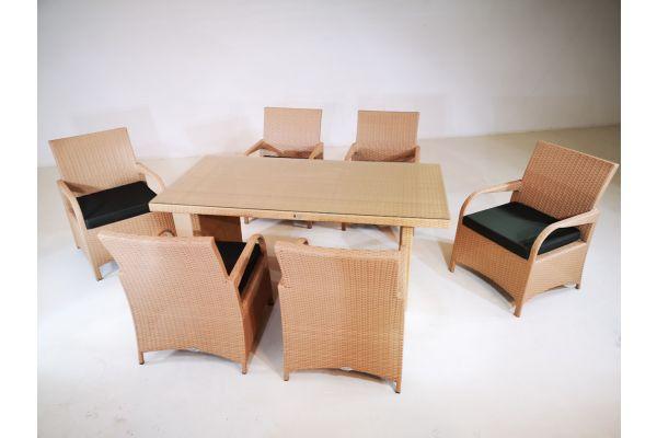 M#: 6er Set Stuhl Pizzo mit Tisch Avignon-sand-anthrazit