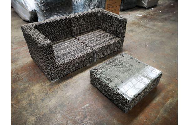 #HBM 1198: Sofa bestehend aus 2 Eckelementen mit Tisch Pamplona 5mm-grau-meliert