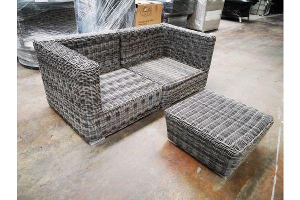 #G 1200: Sofa bestehend aus 2 Eckelementen Pamplona mit Hocker Mandal 5mm-grau-meliert