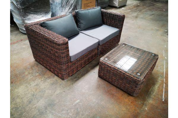 #G 1201: Sofa bestehend aus 2 Eckelementen Pamplona mit Tisch Marbella 5mm-braun-meliert-eisengrau