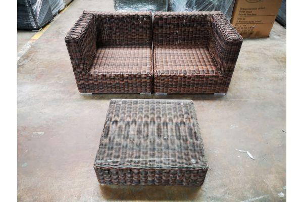 #G 1202: Sofa bestehend aus 2 Eckelementen mit Tisch Pamplona 5mm-braun-meliert