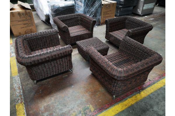 #G 1206: 4x Sessel Vivari + Hocker Mandal 5mm braunmeliert