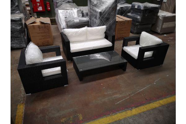 #HBM 1222: Sitzgruppe bestehend aus 2 Sesseln und 2er Sofa Honolulu mit Tisch Casablanca schwarz-schwarz