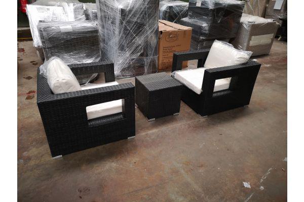 #HBM 1229: 2er Set Sessel Honolulu mit Beistelltisch Barcelona schwarz-schwarz