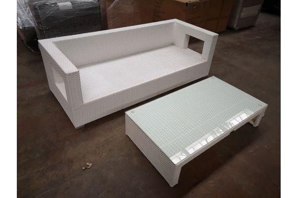 #G 1246: 3er Sofa Honolulu mit Tisch Casablanca-weiß