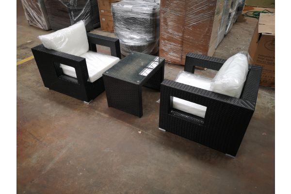 #G 1248: 2er Sofa Honolulu mit Kaffeetisch Casablanca-schwarz
