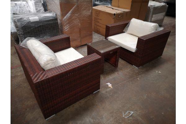 #G 1259: 2er Set Sessel mit Beistelltisch Casablanca-braun-meliert