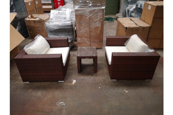 #G 1258: 2er Set Sessel mit Beistelltisch Casablanca