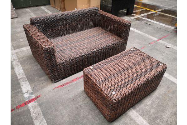 #HBM 1266: 2er Sofa Madeira mit Tisch Bergen 5mm-braun-meliert